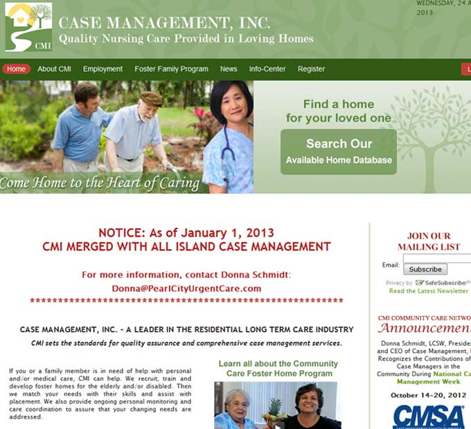 Case Management Long Term Care Home Page