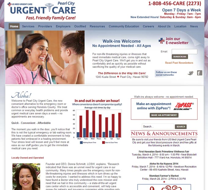 Pearl City Urgent Care Home Page