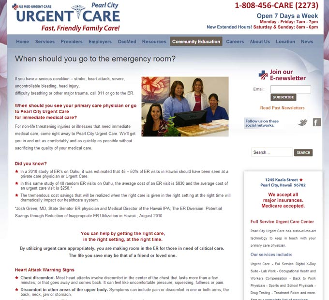Pearl City Urgent Care Interior Page