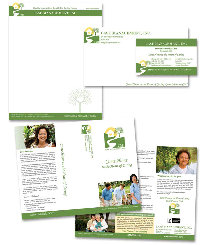 Case Management Long Term Care Logo and Print Design