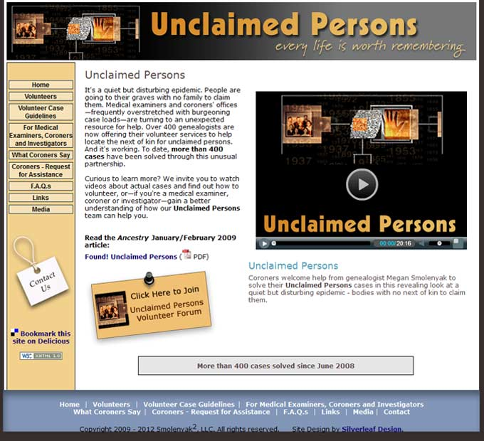 Unclaimed Persons - Home Page